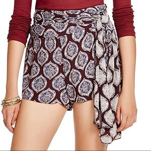 Free People All A Dream Paisley Wrap Tie Shorts 6